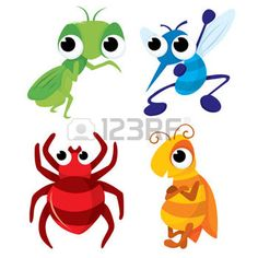 mantis: A vector illustration set of four different cartoon pests such as grasshopper, mosquitoes, spider and bee.