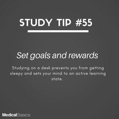 Image may contain: text that says 'STUDY TIP Set goals and rewards Studying on a desk prevents you from getting sleepy and sets your mind to an active learning state. Study Motivation Quotes, Study Quotes, Student Motivation, Study Techniques, Study Methods, Life Hacks For School, School Study Tips, School Tips, Effective Study Tips