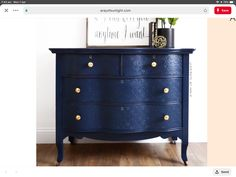 Navy Blue Antique Serpentine Dresser with Embossed Drawers and Gold Geometric Knobs - Painted Furniture Inspiration in Country Chic Paint. Get this modern farmhouse style on your DIY bedroom furniture or thrift finds! Repurposed Furniture, Shabby Chic Furniture, Rustic Furniture, Antique Furniture, Furniture Dolly, Antique Desk, White Furniture, Antique Bookcase, Thomasville Furniture
