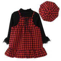 Girls Long Sleeve T-shirt+Plaid Dress+Hat 3Pcs Kids Children Clothing Sets