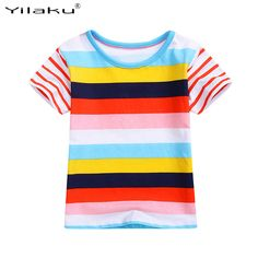 Children's T Shirt 2017 Fashion Multicolor Striped Cotton T-Shirts For Kids Casual Summer Baby Girls Boys Tops T-Shirts CG303 #Affiliate