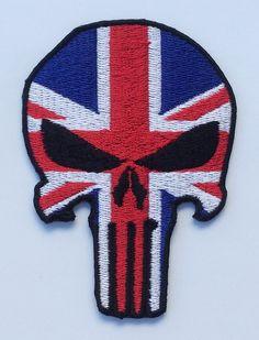 Punisher Skull Union Jack Flag Embriodered Badge Sew Or Iron On Patch Punisher Tattoo, Punisher Skull, Flag Patches, Iron On Patches, Union Flags, Union Jack, Sleeve Tattoos, Badge, Tattoo Designs