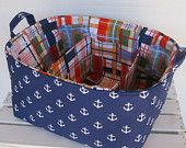 Diaper Caddy - Fabric Organizer Storage Bin Basket - with 2 Dividers - Nautical White Anchors on Navy Blue