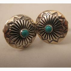 Vintage Mans South Western Sterling Silver Turquoise Cufflinks