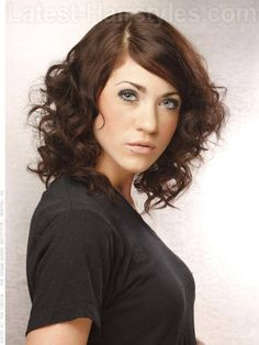 Long Brunette Curly Bob with Waves