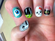 Halloween Monsters nail art - inspired by ihaveacupcake nail art