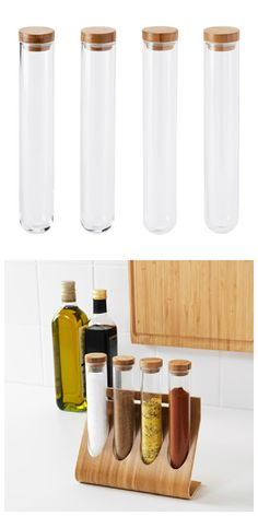 RIMFORSA container has airtight lids that prevents leaks and preserves flavors and scents. The bamboo stand holder can be placed on your countertop or hung on the wall to free up more space. Handy for the spices I like best. Kitchen Hacks, Kitchen Gadgets, Kitchen Ideas, Kitchen Organization, Kitchen Storage, Test Tube Holder, Boutique Bio, Ikea, Honey Packaging