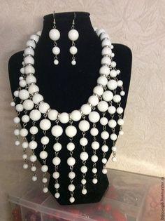Купить Колье Клеопатра - белый, украшения ручной работы, украшение на шею, колье