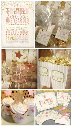 Twinkle Twinkle Little Star - One Year Old is What You Are! Click to see First Birthday Invitation and matching party kit from http://www.partymonkey.etsy.com