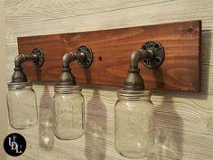 Pipe Lighting, Rustic Lighting, Vanity Lighting, Rustic Light Fixtures, Vanity Light Fixtures, Farmhouse Vanity Lights, American Walnut, Natural Wood, Bulb