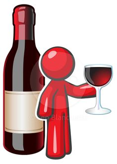 Design Mascot holding a glass of fine wine with a large wine bottle behind him. Created for advertising fine wine…
