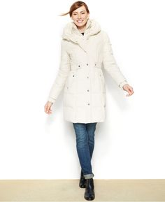 DKNY Belted Quilted Long-Length Down Puffer Coat