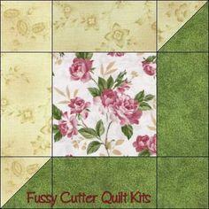 Katelyn's Garden Pink Roses Sage Green Attic Window Easy Pre-Cut Quilt Blocks Top Kit