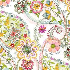 watercolor floral: Marianna, Pink - designed by Gray Sky Studio for In The Beginning Fabrics via Etsy