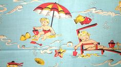 """Reproduction of an actual 1930s-40s feed or flour sack fabric, made in 1995 by American Fold & Fabric, Inc. Entitled """"By the Sea"""", a limited edition fabric."""