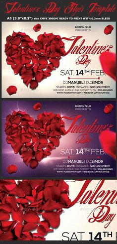 Valentines Day Flyer  Psd Template — Photoshop PSD #dj #dance • Available here → https://graphicriver.net/item/valentines-day-flyer-psd-template/19257341?ref=pxcr