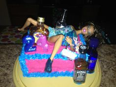 Homemade Drunk Barbie 24th birthday cake