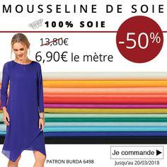** 7 Jours - 1 Prix - 1 Produit *** Profitez de notre Mousseline 100% Soie à 6,90€ le mètre au lieu de 13,80€. Cliquez ici : www.tissus-de-reve.fr