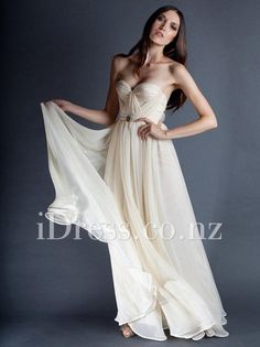 Unique Cream Chiffon Strapless Sweetheart Long Prom Dress