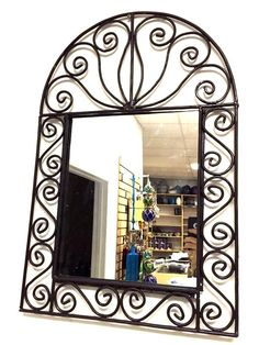 "Moroccan Wrought Forged Iron Wall Arabesque Arch Mirror Design 28"" X 18""  #Handmade #Moroccan"