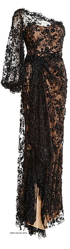 Marchesa Black Re-Embroidered One Shoulder Gown ♔ Resort 2015