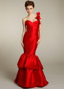 One Shoulder Red Satin Long Sweetheart Mermaid Gown