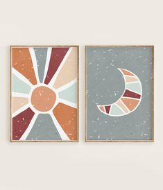Boho Nursery Art Sun and Moon Print Set of 2 Burnt Orange & Minimal Wall Art, Art Prints, Art Painting, Painting, Minimalist Painting, Canvas Art, Abstract, Art Inspiration, Cute Canvas Paintings