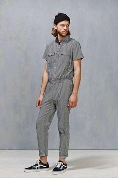 Standard Issue Striped Denim Jumpsuit Modern Mens Fashion, Male Fashion, Designer Jumpsuits, Denim Jumpsuit, Dungarees, Casual Outfits, Fashion Outfits, Costume, Stylish Men
