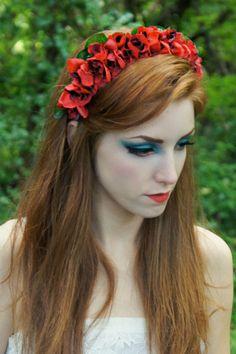 Rose Flower Crown  Red/Burgundy  headband by FairyRingsShop