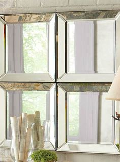 Encourage reflective light in any room while adding contemporary style with the gorgeous Beveled Glass Mirror.