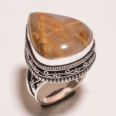 Nice Golden Needle Rutile .925 Silver Hand Carving  Ring Size7.75 Jewelry SJA754 #Handmade
