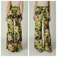 "Anthropologie Pants ""Blurred Dahlia"" By Leifnotes EUC  Small flaw-- zipper pull is slightly broken, does not affect being able to zip up side and not noticeable. Smoke free home Anthropologie Pants Wide Leg"