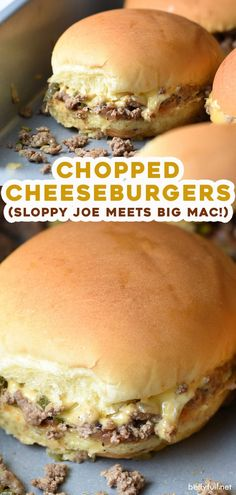 These Chopped Cheeseburger Sliders are a cross between a sloppy joe and a McDonald's Big Mac. They're super easy, delicious, and quite awesome! Seafood Appetizers Seafood Appetizers Appetizers Appetizers for a crowd Appetizers parties Loose Meat Sandwiches, Wrap Sandwiches, I Love Food, Good Food, Yummy Food, Tasty, Awesome Food, Meat Recipes, Cooking Recipes
