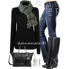 """""""Houndstooth Checker Scarf"""" by shannonmarie-94 on Polyvore"""