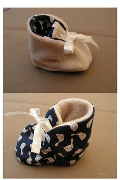 Tuto couture pour créer des chaussons chauds, réversibles et réconfortants po… Tuto sewing to create warm, reversible and comforting slippers for baby to have a wonderful winter! Baby Couture, Couture Sewing, Sewing For Kids, Baby Sewing, Sewing Ideas, Baby Booties, Baby Shoes, Diy Bebe, Sewing Accessories