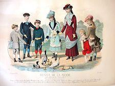 French fashion print, coloured engraving, 'Revue De La Mode'. 1881. No.488