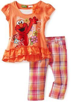 Sesame Street Elmo Plaid Girls Capri Set