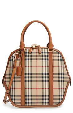 7524cd2c66b9 Burberry  Medium Orchard  Horseferry Check Satchel Brown Leather Satchel