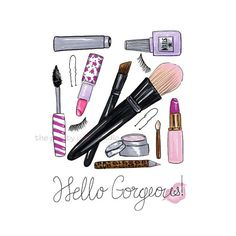 Hello Gorgeous print, Makeup brushes wall art, Makeup illustration, Mascara…                                                                                                                                                                                 Más