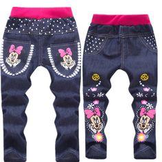 2016 primavera/otoño moda minions niños pantalones niñas bebés de los pantalones vaqueros niños pantalones vaqueros para niños pantalones de mezclilla ocasional 3-7Y ropa de bebé