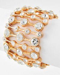Gold Tone / Clear Rhinestone / Stretch Bracelet