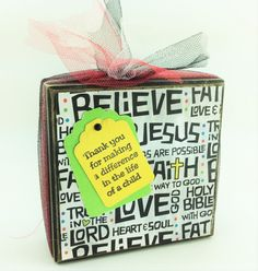 AG Designs Block Sitter - Sunday School Christian  Teacher Thank You 7-15/11 by AgapeGiftsOnline on Etsy