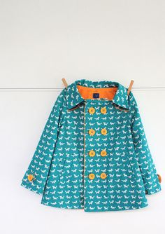Turquoise printed coat - girls clothes