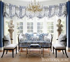 This home's bold blue-and-white patterns bring the drama! - Traditional Home® / Photo: Werner Straube / Design: Megan Winters