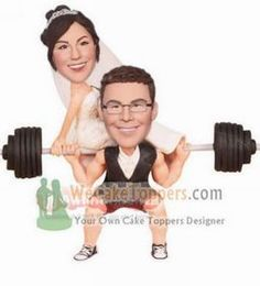Weightlifting theme wedding cake toppers