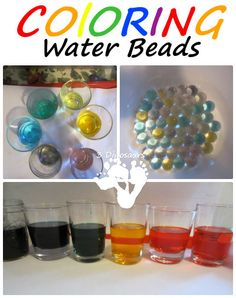 Coloring Water Beads | 3 Dinosaurs