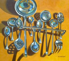 """""""Spoons"""" Oil on Canvas 30x34"""" by Leigh-Anne Eagerton. Adore the colors in this one!"""