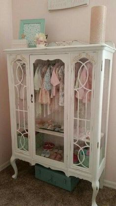 DIY - Repurposed China Hutch Displaying Little Girls Clothes.Great Addition to a Nursery! Its a Labor of Love Using Annie Sloan Chalk Paint. More - Baby Nursery Today