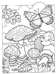 nl use for pyrography pattern Blank Coloring Pages, Adult Coloring Book Pages, Mandala Coloring Pages, Coloring For Kids, Printable Coloring Pages, Free Coloring, Coloring Books, Coloring Sheets, Mushroom Art