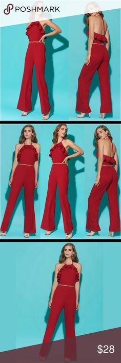 "🔥 Sexy Backless Red Ruffled Wide-leg Jumpsuit 8 NEW WITH TAGS! ECI Sexy Red Ruffled Wide-leg Jumpsuit in Size: 8. Slay cocktail hour in this stunning ruffled jumpsuit from ECI.Perfect for any occasion, day or night. Call the fire department because this look is fire! Open Back is very flattering and perfect for a night out. Halter neckline with ruffles.  	•	Pullover styling.  	•	On-seam pockets.  	•	Wide leg.  	•	Approximate inseam: 32-1/2"".  	•	Fabric Content: Polyester/spandex…"